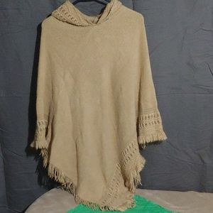 Accessory st. Beautiful tan hooded poncho